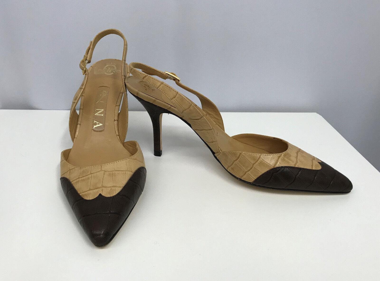 molto popolare GINA GINA GINA LEATHER scarpe NEW MADE IN ENGLAND Marrone AND SAND TONE MOC CROC Dimensione 3  vendita calda