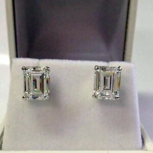 3-00-Ct-Emerald-Cut-Diamond-Solitaire-Stud-Earrings-14K-White-Gold-Over