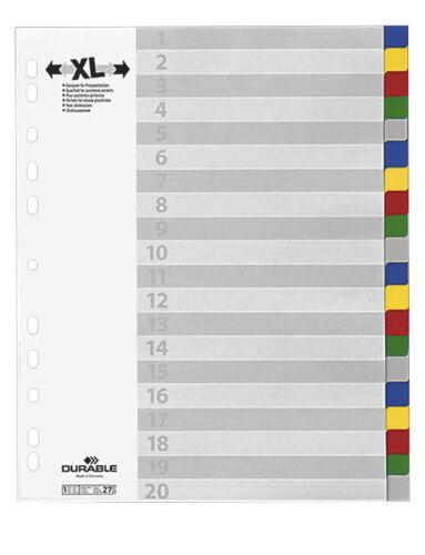 Vollformat DURABLE Register blanko 20-teilig