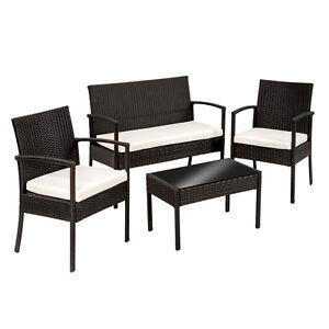 Ensemble salon de jardin en résine canapé table chaises tressée poly ...