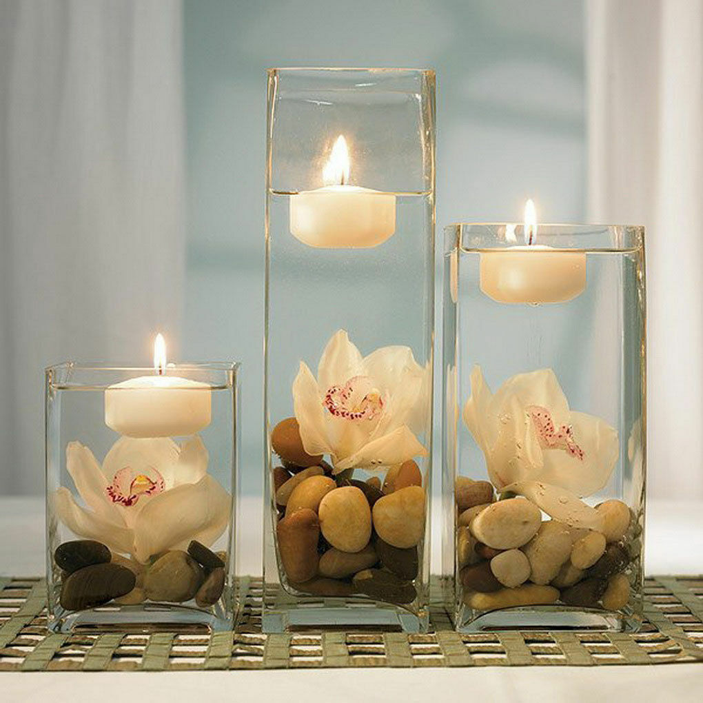 Clear Glass Square Vase. H-16 , Open 4  x 4  Wedding Centerpiece - 6 PCS
