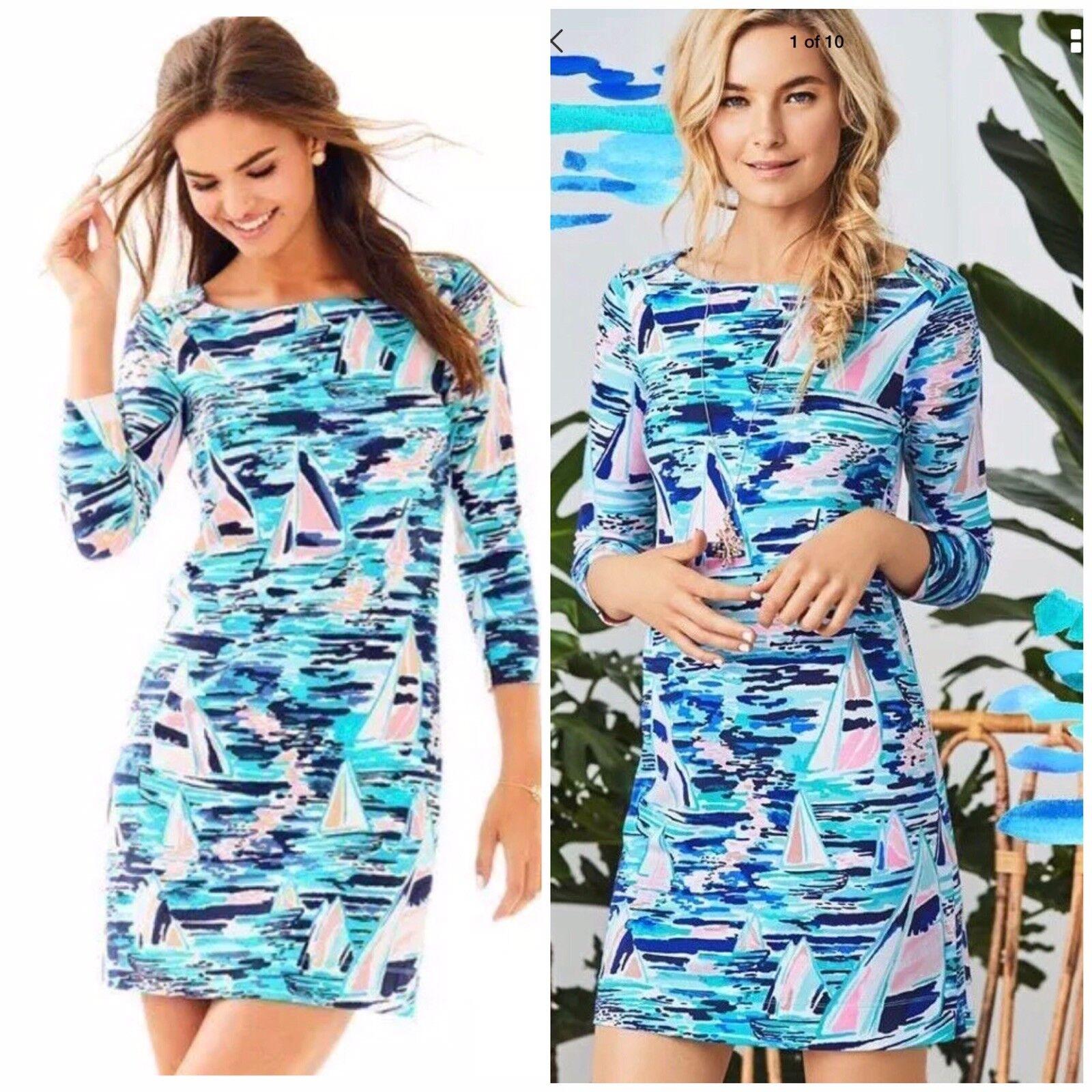 NWT Lilly Pulitzer UPF 50+ 3 4 Sleeve Tammy Dress in Multi Pier Pressure-Size L
