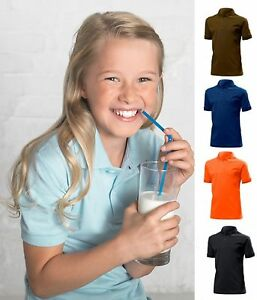 Hanes-Kids-Childs-Childrens-Boys-Girls-Plain-Cotton-Polo-Sports-Shirt-No-Logo