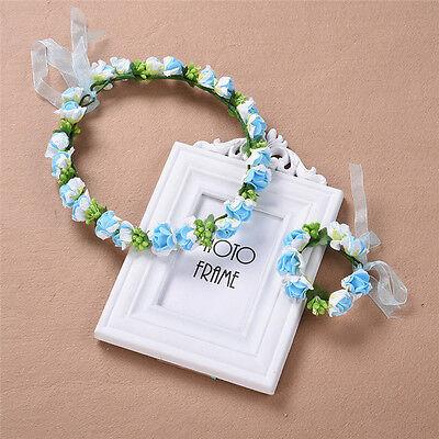 Women Wedding Flower Hair Garland Crown Headband Floral Wreath Hair Band+Bracele