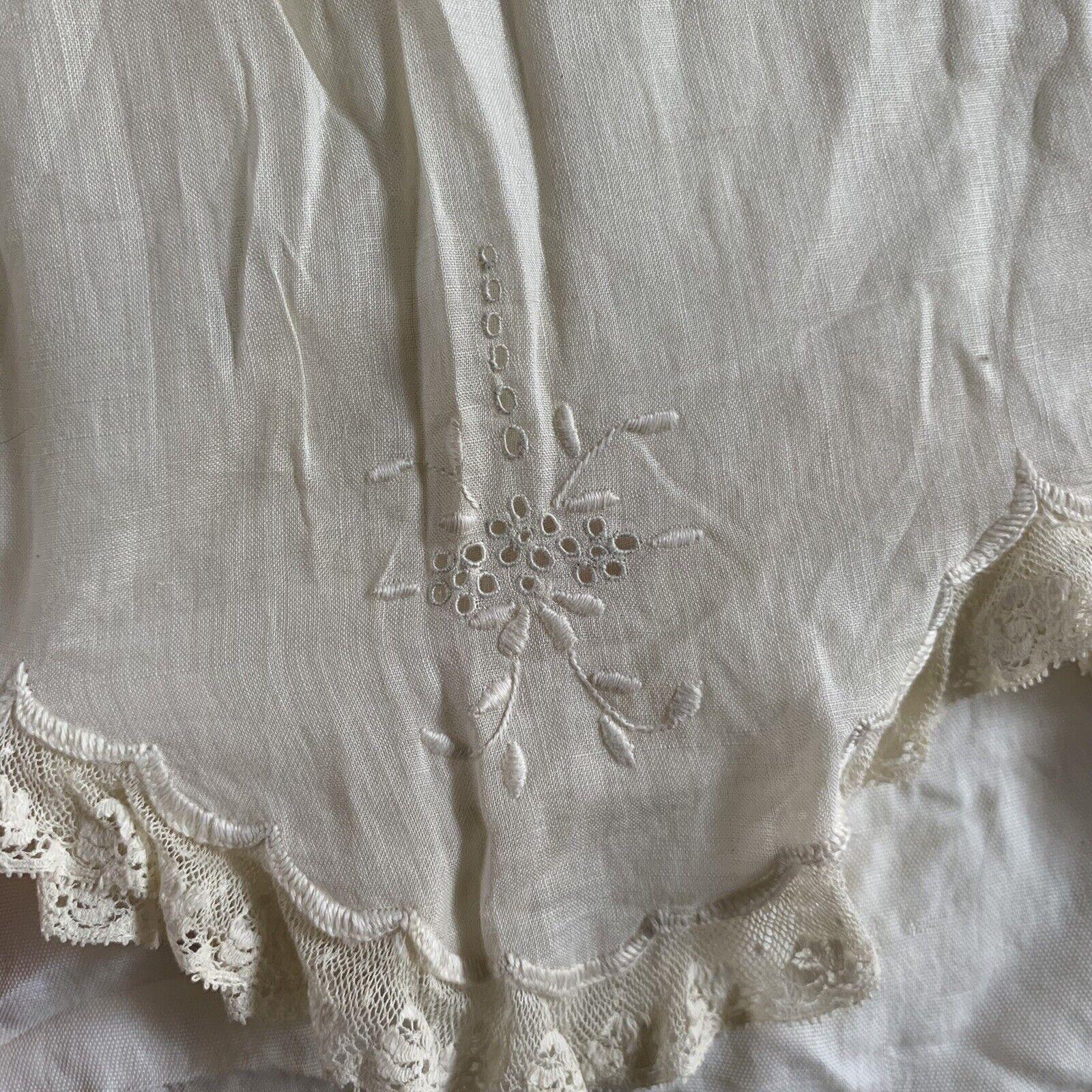 Antique Edwardian Kids Cotton Eyelet Embroidered … - image 8