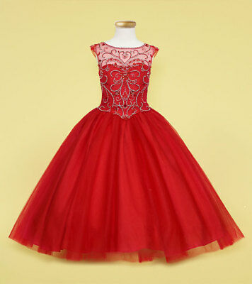 Flower Girl Dress Princess Formal Graduation Holiday Wedding Sz 6 8 10 12 14 16