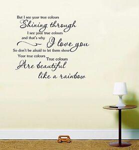 Details about True Colours Cyndi Lauper Music Lyrics Wall Art Sticker  inspirational quote