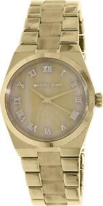 Michael-Kors-Channing-Horn-Resin-Gold-Stainless-Steel-Bracelet-MK6152-Watch-NIB