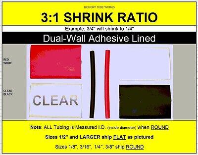 "BLACK 1.5/"" 38mm Dual-Wall Adhesive 3:1 Ratio Heat Shrink Tubing M23053//4 100 Ft"