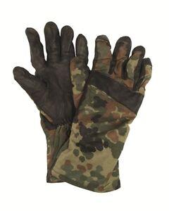 Genuine-German-Army-Issue-Cotton-Leather-Flecktarn-Camo-Combat-Gloves-Grade-1