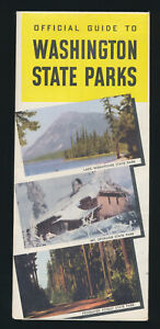 1949 Official Guide Washington State Parks Map 1950's Vintage Vacation Folding