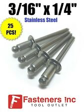 Qty 25 Pop Rivets All Stainless Steel 6 4 316 X 14 Grip Range