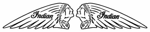 PAIR MOTORCYCLE STICKER DECAL RETRO 130MM X 50MM INDIAN WHITE AND BLACK