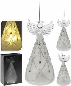 Christmas Angel.Details About Lovely Glass Led Christmas Angel Warm White Light Christmas Tree Decoration