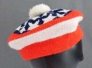 5a2a472f08f Vintage American Flag Beret Pom Tam Hat Stars   Stripes Red White ...