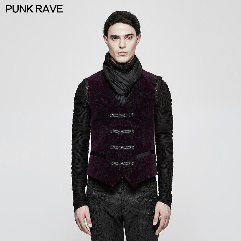 Punk Rave Opéra Victorien Gothique Steampunk Violet Jacquard Gilet sans Manche