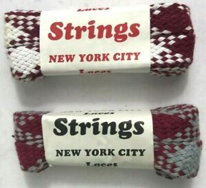 45 inch` 2 pair Shoelaces Cotton Shoe Laces  Fat Flat New from 80s Vintage