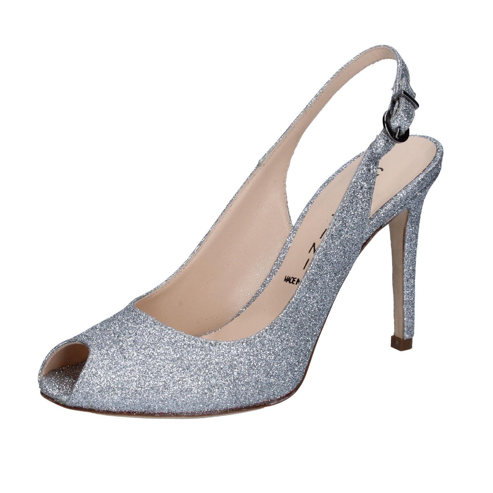 Scarpe donna CAPITINI 40 decolte argento glitter BZ492-E