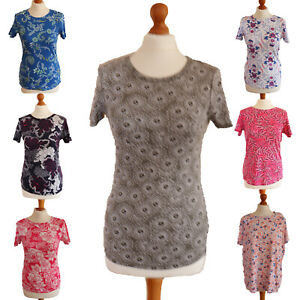 Women-039-s-ladies-ex-M-amp-S-t-shirt-100-cotton-pattern-summer-top-flowers-work-casual