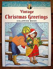 Dover Creative Haven VINTAGE CHRISTMAS GREETINGS Adult Coloring Book Noble 2014