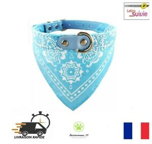 Collier-Cuir-PU-avec-Bandana-Bleu-ciel-pour-Chien-ou-Chat-Reglable-Neuf-FR