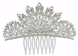Beautiful Vintage Style Full Crystal Silver Plated Art Deco Hair Comb.