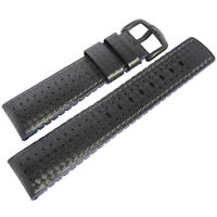 22mm Hirsch Performance Ayrton Black Carbon And Blue Rubber Pvd Watch Band Strap