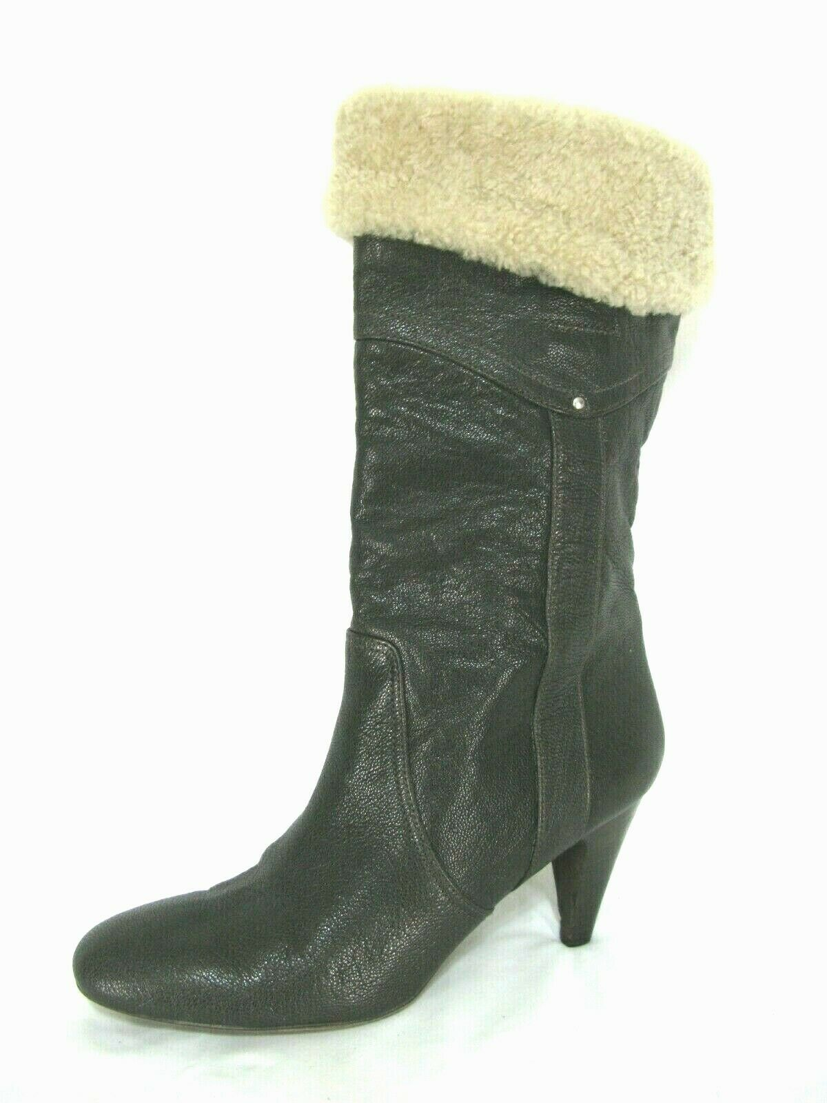 DKNY Insolio Boots  Sz 10 Brown Leather Heels Mid Calf Fur Cuff Foldover