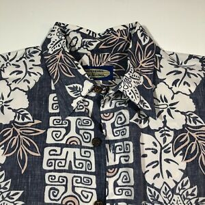 Phil-Edwards-Reyn-Spooner-Hawaiian-Shirt-Mens-M-Blue-Floral-Reverse-Print