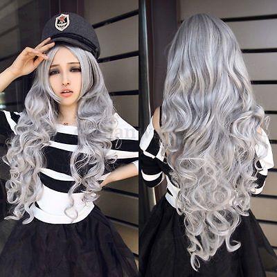 80CM Cosplay Costume Long Curly Full Hair Grey Wavy Anime Wig Halloween Girls
