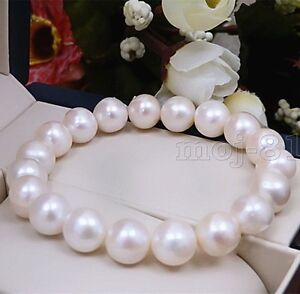 Fashion-Women-039-s-9-10MM-Natural-White-Freshwater-Pearl-Stretch-Bracelet-7-5-039-039-AAA