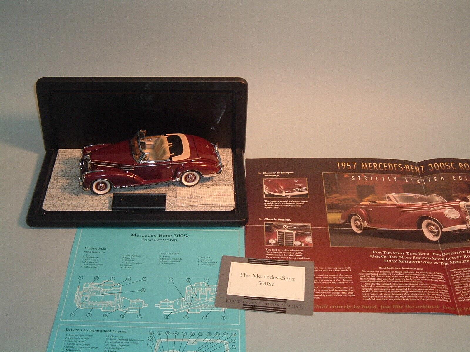 1957 MERCEDES -BENZ 300 SC BURGGUNDY ROADSTER FRANKLIN MINT