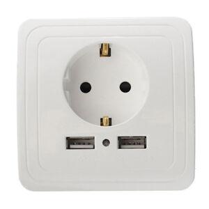 Placa de cargador de pared con puerto USB 2 de enchufe doble de la UE 1PCS