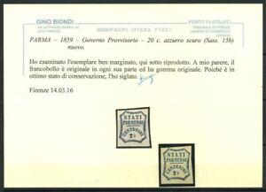 Parma-1859-Sass-15b-Nuovo-100-Biondi-cert-20-c-azzurro-Governo-Prov