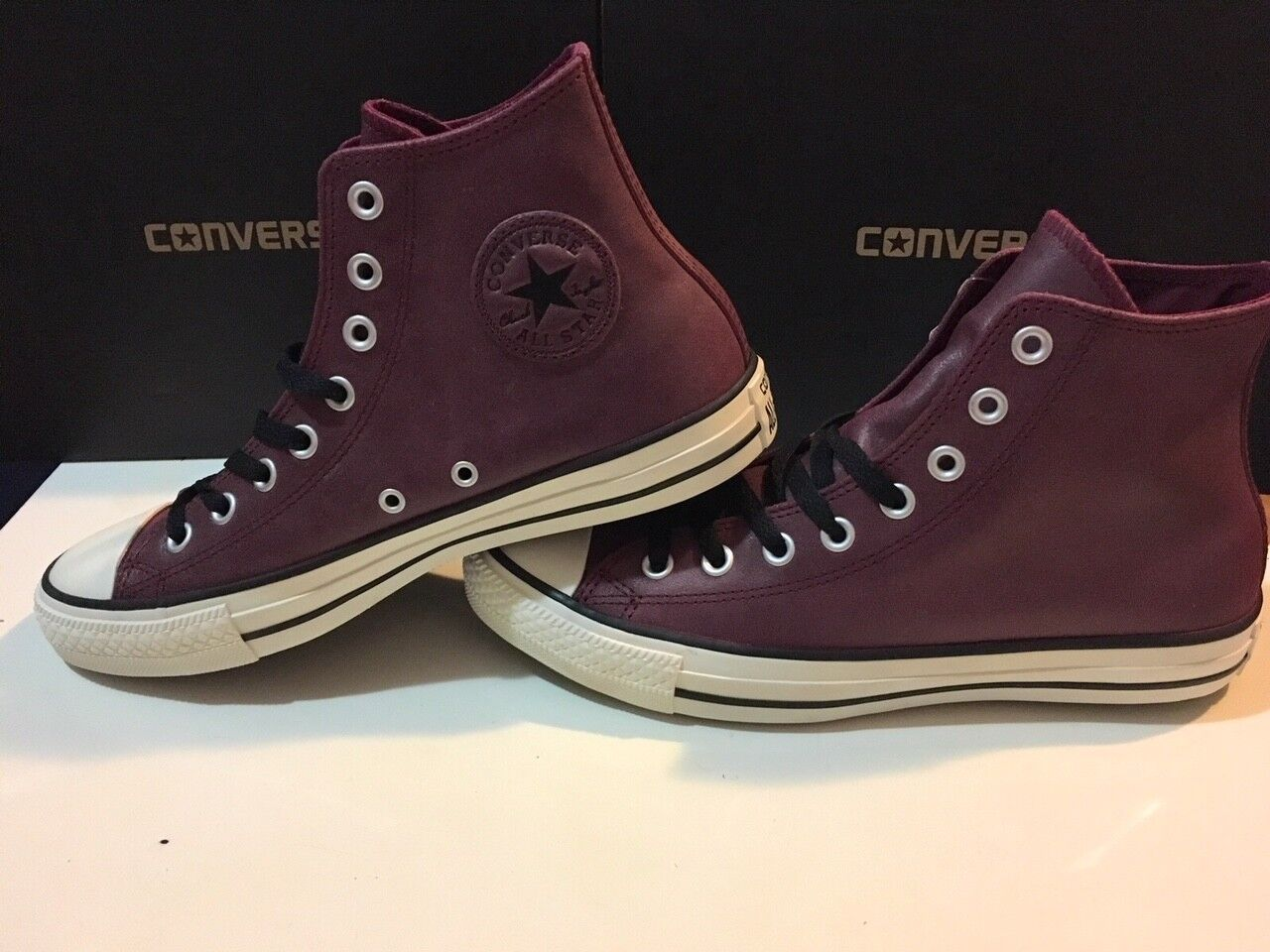 Converse Men's Maroon CT Hi Tops Leather Oxheart Maroon Men's - Multiple Sizes 7c6bd8