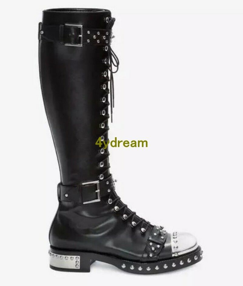Punk Womens Floral Lace Up Knee Knee Knee High Boots Zipper Buckle European shoes 34-43 449f75