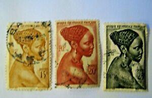Afrique-Equatoriale-Francaise-1947-N-267-268-269-Timbres-Sellos-Briefm-Stamps