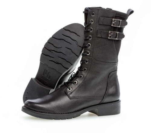 Gabor botín 0892 73 01 negro cuero liso cremallera botas depósito