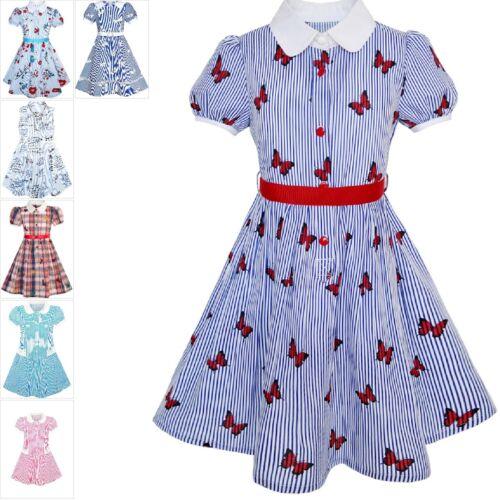 Mädchen Kleid Schule Uniform Blau Isolieren Sie Schmetterling drucken Gingham