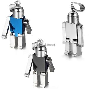 High-Polished-Stainless-Steel-Robot-Toy-Pendant-Necklace-Boys-Birthday-Gifts