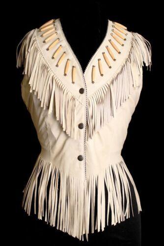 Western Women Coat Cow Vest lady beads Ladies Jacket Bones Suede Leather Fringe 4WBpqHS