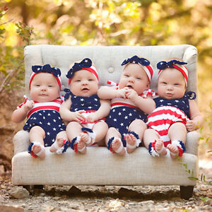 e6ffd5d8caba 4th Of July Newborn Infant Baby Boy Girl Stars and Stripes Romper ...