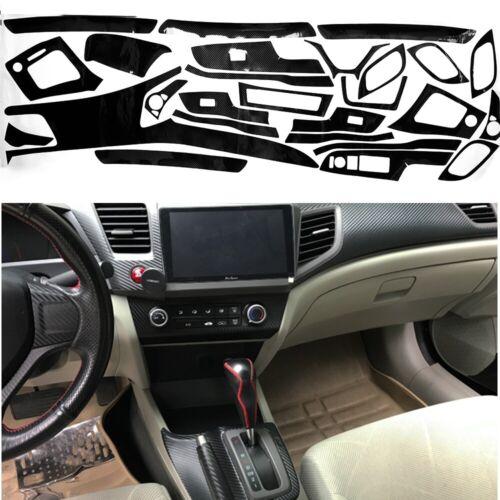 For Honda Civic 2012 2013 2014 Interior Decal Sticker Wrap Trim Dash Panel Kit