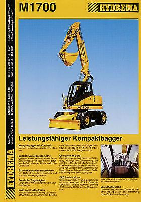 Transport Kataloge & Prospekte Prospekt Hydrema M1700 Kompaktbagger 4/00 2000 Baumaschine Bagger Brochure