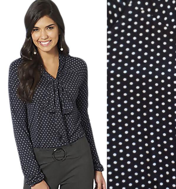 Ladies Size 20 - 24 Plus Size Black Polka Dot Blouse Shirt Pussy Bow