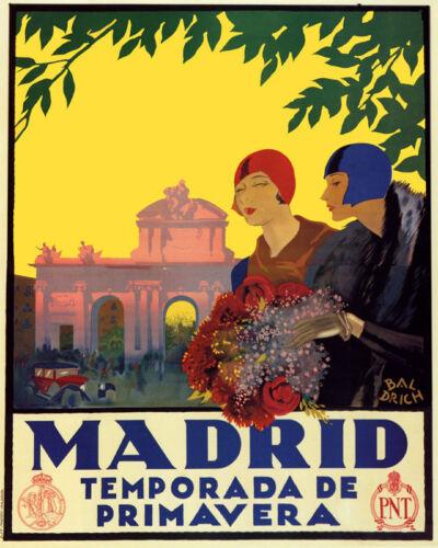 POSTER MADRID SPRING SEASON FLOWERS FASHION SPAIN TRAVEL VINTAGE REPRO FREE S//H