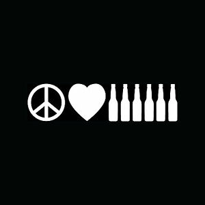 PEACE-LOVE-BEER-Sticker-Funny-Car-Window-Vinyl-Decal-Six-Pack-Drink-Cute-Alcohol