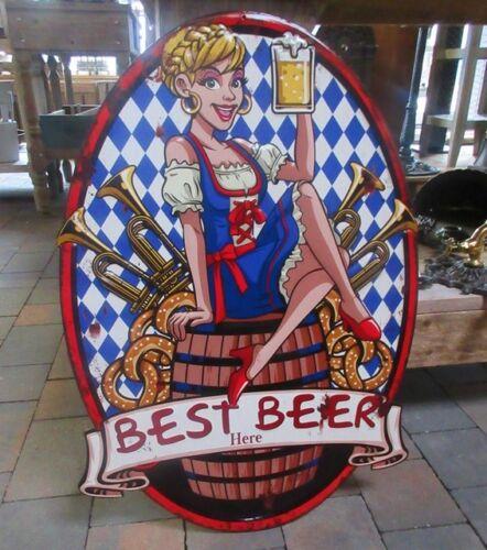 GROSSES BLECHSCHILD BEST BEER WANDDEKO 65cm H BAYERN OKTOBERFEST SCHILD METALL