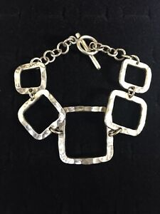 Vintage-Sterling-Silver-Bracelet-Square-Open-Panel-Links-Toggle-Clasp-Mexico-925
