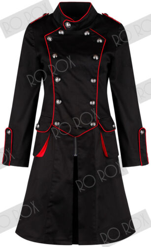 H/&R Armee Madchen Black Red Military Kneelength Long Coat Army Officer Jacket